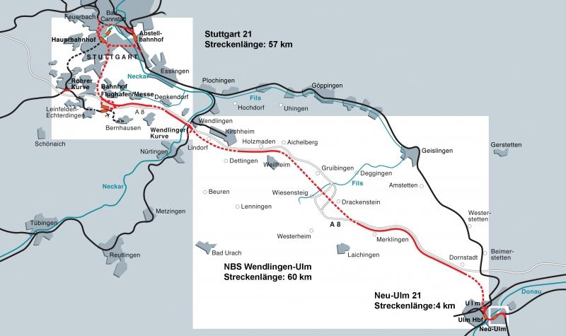 Le tracé de la voie Stuttgart-Ulm, cliquer pour agrandir