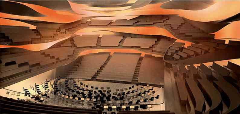 La salle principale dessinée par l'architecte Jean Nouvel accueillera 2 400 amateurs ou fins connaisseurs de la musique symphonique.