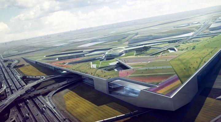 L'une des quatres esquisses du projet Europa City. Il va occuper 80 des quelque 300 ha du triangle de Gonesse, en bordure de l'A 1 entre Paris et Roissy.