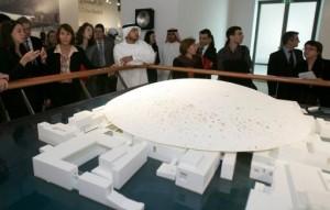 Présentation de l'annexe du Louvre à Abou Dhabi, le 7 janvier 2008
