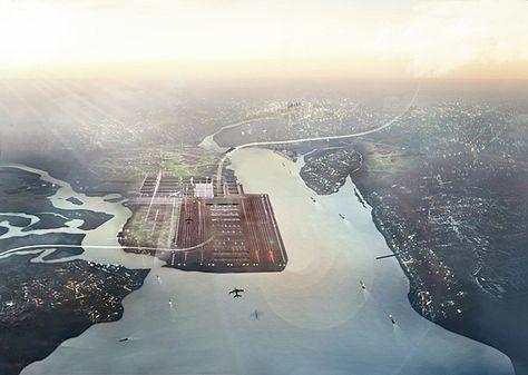 Vue aérienne du projet d'aéroport sur la Tamise.