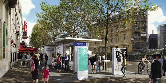 Une station de bus expérimentale, près de la gare de Lyon, à Paris.