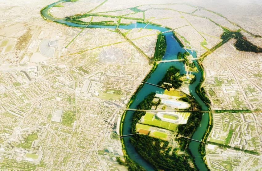 Le Grand parc Garonne à l'horizon 2030. Au premier plan le parc toulousain du Ramier, relié par de nouvelles passerelles à Empalot et à la rive droite. Plus loin, l'écluse Saint-Michel réaménagée.