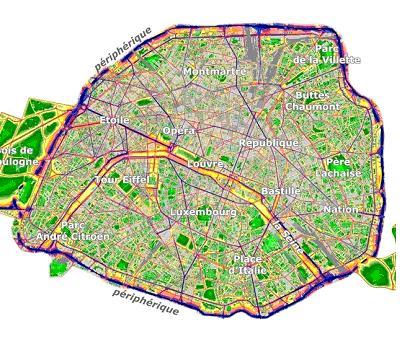 Cartes 2D et 3D du bruit routier parisien, mises en ligne sur internet.