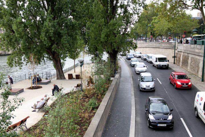 Paris (Ier), le 3 septembre. La voie express Georges-Pompidou, qui traverse Paris d'ouest en est, voyait passer 4 000 véhicules par heure avant sa piétonnisation partielle.
