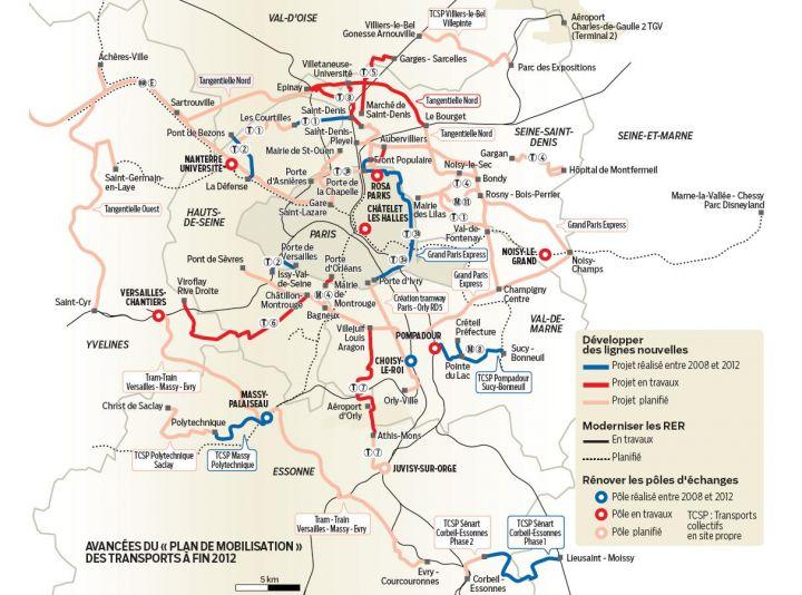 """Avancées du """"Plan de Mobilisation des Transports"""" à la fin 2012."""
