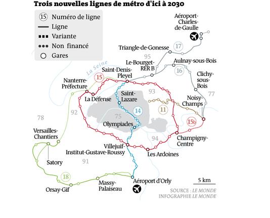 Trois nouvelles lignes de métro d'ici à 2030