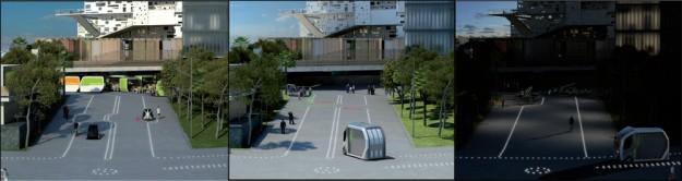 La rue nue® équipée d'une signalétique lumineuse et au sol, évolutive en fonction des heures de la journée pour des usages différenciés.