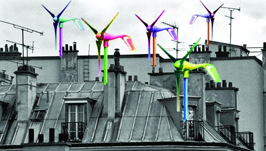 Un photomontage d'éoliennes sur les toits de Paris