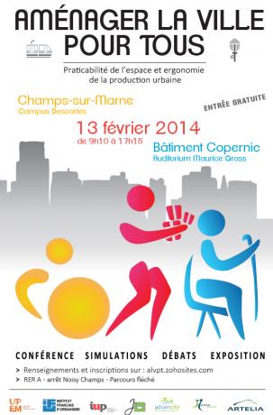"""Affiche officielle de la journée de réfléxion """"Aménager la ville pour tous"""". Crédit photo : ALVPT"""
