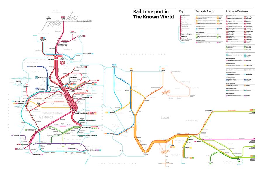 Le plan de métro général de Westeros et Essos, Game of Thrones. Par Michael Tyznik