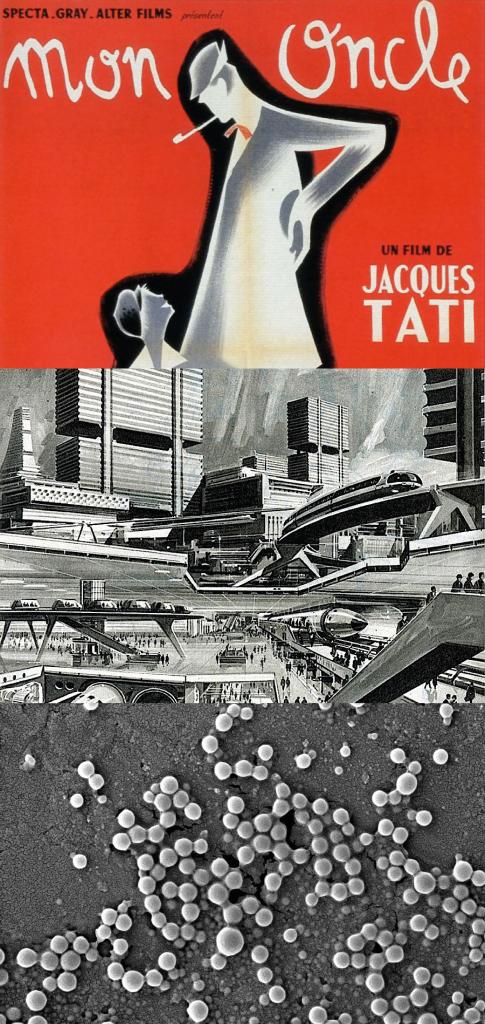 Cadavre exquis : Jacques Tati, prospective et nanoparticules Crédits illustrations : 1/ Mon Oncle, Jacques Tati, affiche du film, 1958 2/ Dessin prospective urbaine, via http://transit-city.blogspot.fr/ 3/ Nanoparticules, INSERM