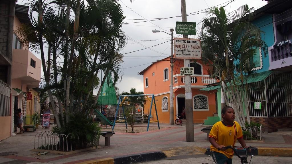 """Quartier consolidé issu de la """"production sociale du logement"""" aujourd'hui menacé d'expulsion pour la construction d'un parc linéaire, Guayaquil, 2015."""