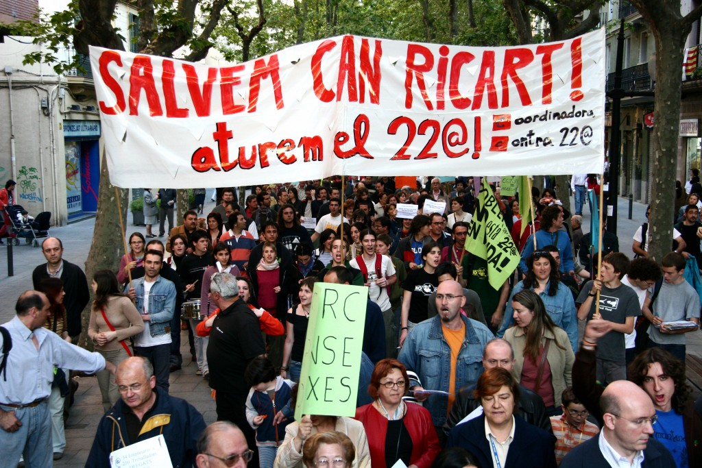 Manifestation du collectif « Salvem Can Ricart » contre le projet 22@ (source : lallacuna.org)