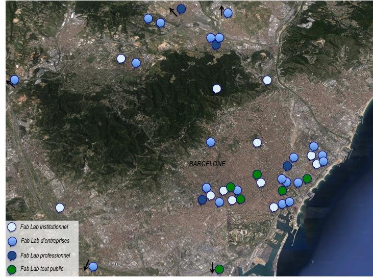 Localisation des Fab Labs dans l'aire métropolitaine barcelonaise (source: Raphaël Besson, Villes Innovations, 2015)