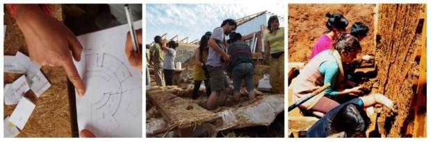 Atelier d'autoconstruction écologique dans les hauteurs de Valparaiso, Chili