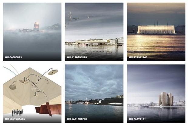 Les six finalistes du concours Guggenheim d'Helsinki avec dans l'ordre : Moreau Kusunoki Architectes / AGPS Architecture / Asif Khan / Fake Industrie Architectural Agonism / SMAR Architecture Studio / HaasCookZemmrich Studio