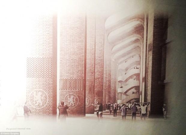 Détails des colonnes et des circulations extérieures du projet / © Herzog & de Meuron