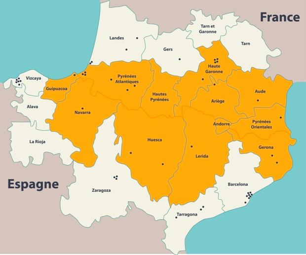 Périmètre du programme européen « Coworking Pyrénées »