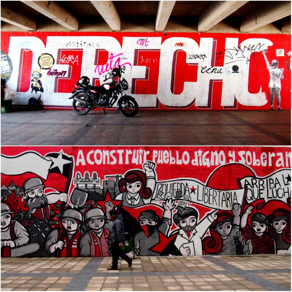 « Droit », à Cali, Colombie, et « Construisons un peuple libre et souverain » à Concepción, Chili
