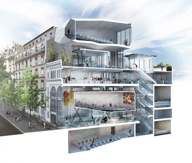 Coupe du projet de la sous-station Voltaire. L'une des plus belle réussite architecturale du concours. / Crédits photo : Olivier Palatre Architectes et Atelier Roberta