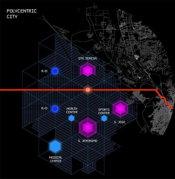 Le projet : un modèle de ville polycentrique / © fr-ee.org