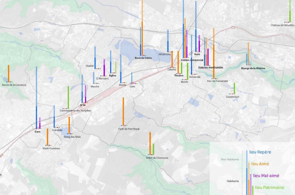 Carte montrant le résultat d'une enquête de perception du corridor ferroviaire de Saint-Quentin-en-Yvelines réalisée en 2014 auprès de 50 usager(e)s