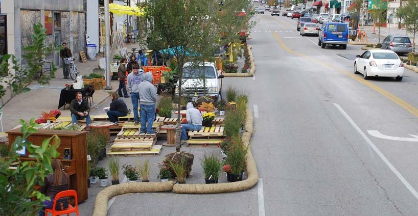 A Build a Better Block installation in Kansas City inspired by activists in Oak Cliff, Dallas. (Photo credit: Build a Better Block)